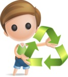 Simple Cute Boy Vector 3D Cartoon Character AKA Little Melvin - Eco