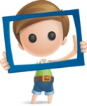 Simple Cute Boy Vector 3D Cartoon Character AKA Little Melvin - Frame