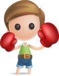 Simple Cute Boy Vector 3D Cartoon Character AKA Little Melvin - Boxing