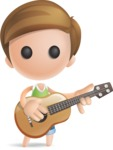 Simple Cute Boy Vector 3D Cartoon Character AKA Little Melvin - Musician