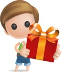 Simple Cute Boy Vector 3D Cartoon Character AKA Little Melvin - Gift