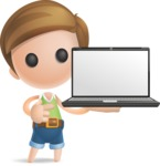 Simple Cute Boy Vector 3D Cartoon Character AKA Little Melvin - Laptop 2