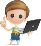 Simple Cute Boy Vector 3D Cartoon Character AKA Little Melvin - Laptop 3