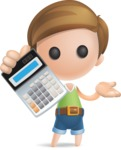 Simple Cute Boy Vector 3D Cartoon Character AKA Little Melvin - Calculator