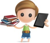Simple Cute Boy Vector 3D Cartoon Character AKA Little Melvin - Book and iPad