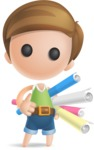 Simple Cute Boy Vector 3D Cartoon Character AKA Little Melvin - Papers