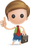 Simple Cute Boy Vector 3D Cartoon Character AKA Little Melvin - Businessman