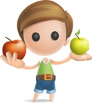 Simple Cute Boy Vector 3D Cartoon Character AKA Little Melvin - Apples