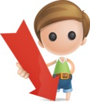 Simple Cute Boy Vector 3D Cartoon Character AKA Little Melvin - Arrow 3