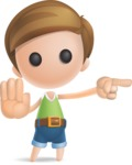 Simple Cute Boy Vector 3D Cartoon Character AKA Little Melvin - Direct Attention