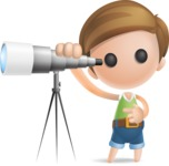 Simple Cute Boy Vector 3D Cartoon Character AKA Little Melvin - Telescope