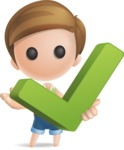 Simple Cute Boy Vector 3D Cartoon Character AKA Little Melvin - Check