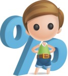 Simple Cute Boy Vector 3D Cartoon Character AKA Little Melvin - Percent