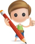 Simple Cute Boy Vector 3D Cartoon Character AKA Little Melvin - Pencil