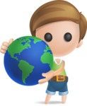 Simple Cute Boy Vector 3D Cartoon Character AKA Little Melvin - Earth