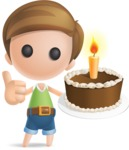 Simple Cute Boy Vector 3D Cartoon Character AKA Little Melvin - Cake