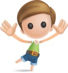 Simple Cute Boy Vector 3D Cartoon Character AKA Little Melvin - Happy