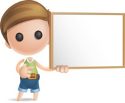 Simple Cute Boy Vector 3D Cartoon Character AKA Little Melvin - Sign 9