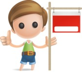 Simple Cute Boy Vector 3D Cartoon Character AKA Little Melvin - Sign 10