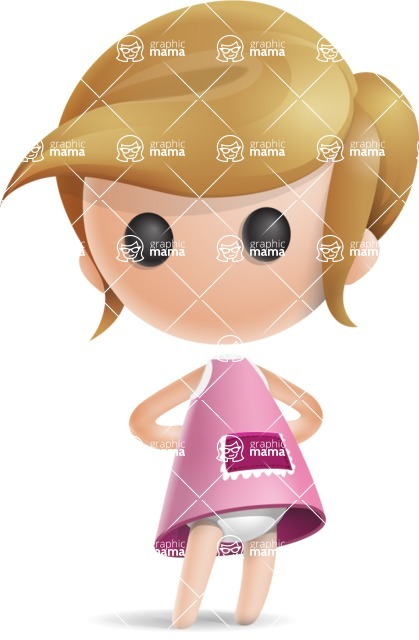 Simple Little Girl Vector 3D Cartoon Character AKA Ellie Babylicious - Normal