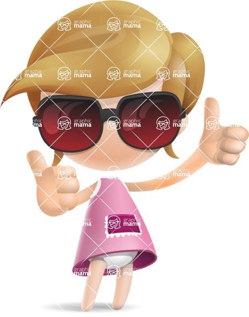 Simple Little Girl Vector 3D Cartoon Character AKA Ellie Babylicious - Sunglasses