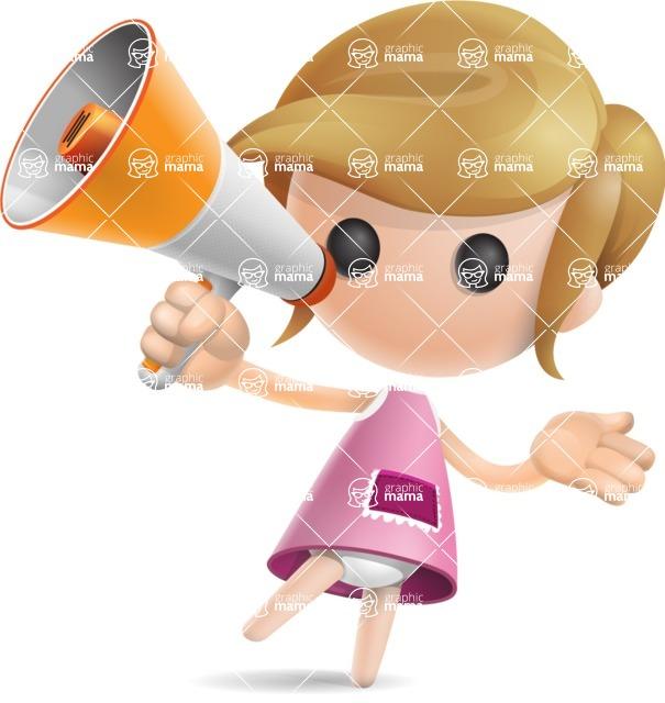 Simple Little Girl Vector 3D Cartoon Character AKA Ellie Babylicious - Loudspeaker