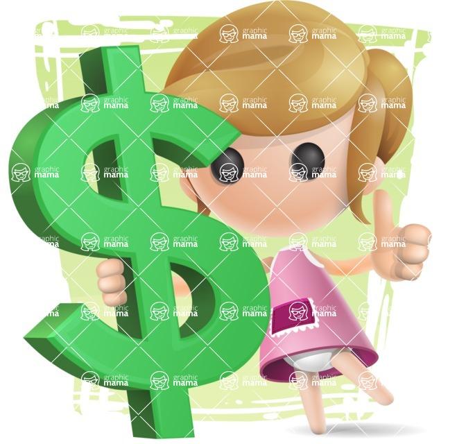 Simple Little Girl Vector 3D Cartoon Character AKA Ellie Babylicious - Shape11