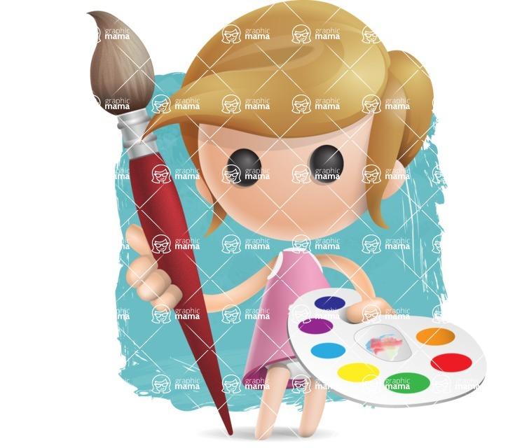 Simple Little Girl Vector 3D Cartoon Character AKA Ellie Babylicious - Shape12