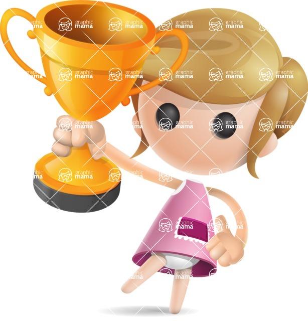 Simple Little Girl Vector 3D Cartoon Character AKA Ellie Babylicious - Gold Cup