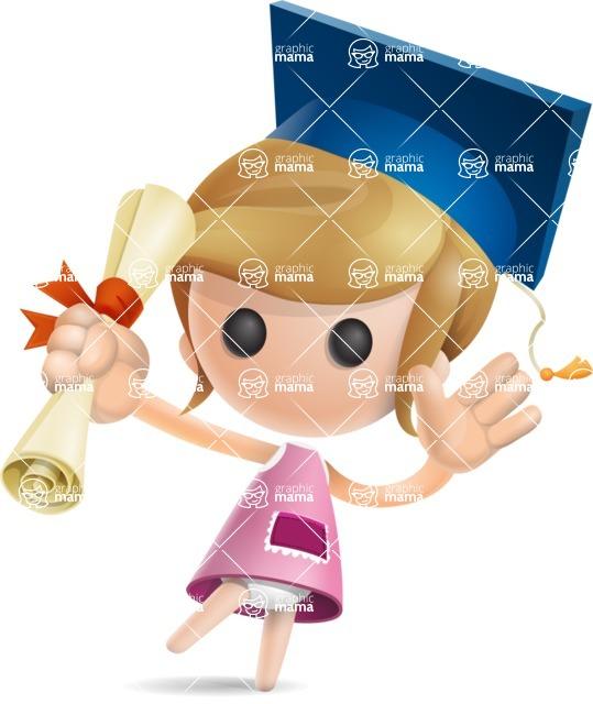 Simple Little Girl Vector 3D Cartoon Character AKA Ellie Babylicious - Graduation