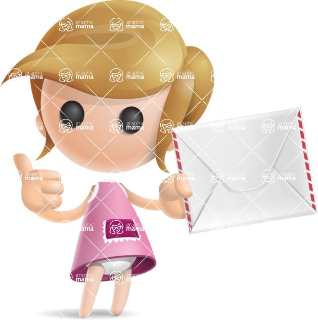 Simple Little Girl Vector 3D Cartoon Character AKA Ellie Babylicious - Letter