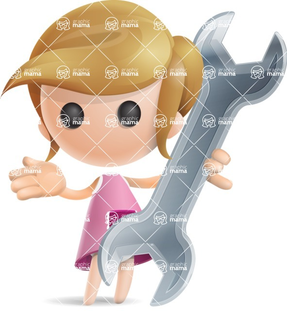 Simple Little Girl Vector 3D Cartoon Character AKA Ellie Babylicious - Repair