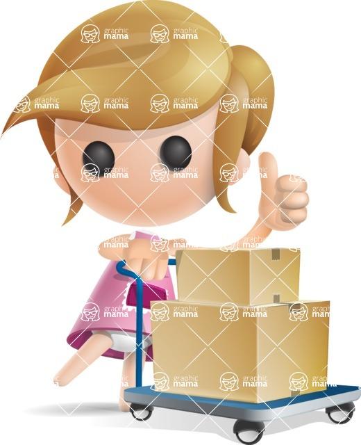 Simple Little Girl Vector 3D Cartoon Character AKA Ellie Babylicious - Pushcart