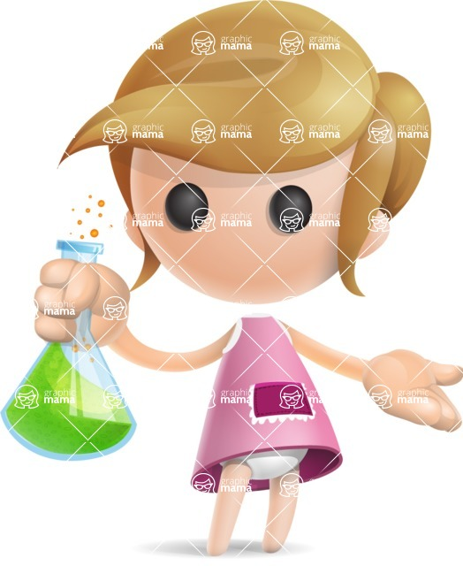 Simple Little Girl Vector 3D Cartoon Character AKA Ellie Babylicious - Flask
