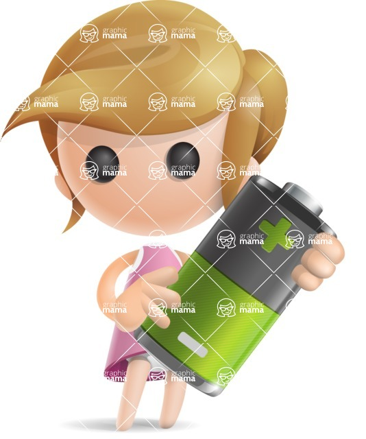 Simple Little Girl Vector 3D Cartoon Character AKA Ellie Babylicious - Battery