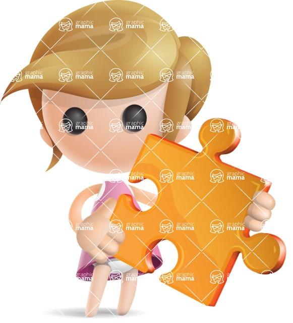 Simple Little Girl Vector 3D Cartoon Character AKA Ellie Babylicious - Puzzle