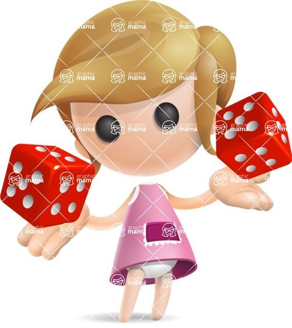 Simple Little Girl Vector 3D Cartoon Character AKA Ellie Babylicious - Lucky