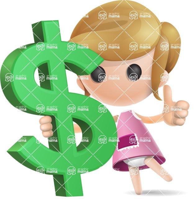 Simple Little Girl Vector 3D Cartoon Character AKA Ellie Babylicious - Dollar