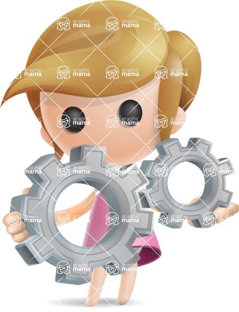 Simple Little Girl Vector 3D Cartoon Character AKA Ellie Babylicious - Gears