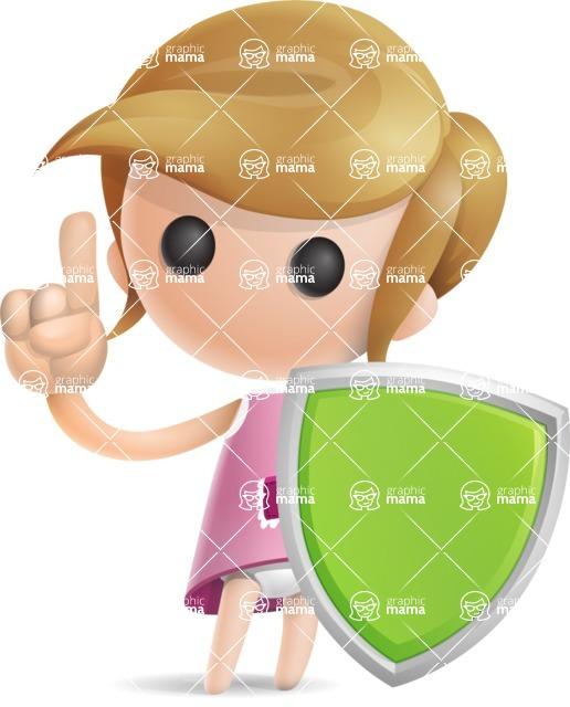 Simple Little Girl Vector 3D Cartoon Character AKA Ellie Babylicious - Shield