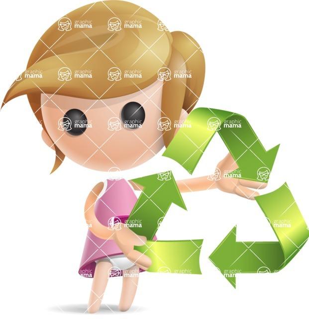 Simple Little Girl Vector 3D Cartoon Character AKA Ellie Babylicious - Eco