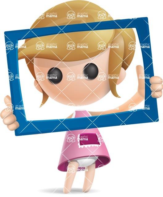 Simple Little Girl Vector 3D Cartoon Character AKA Ellie Babylicious - Frame