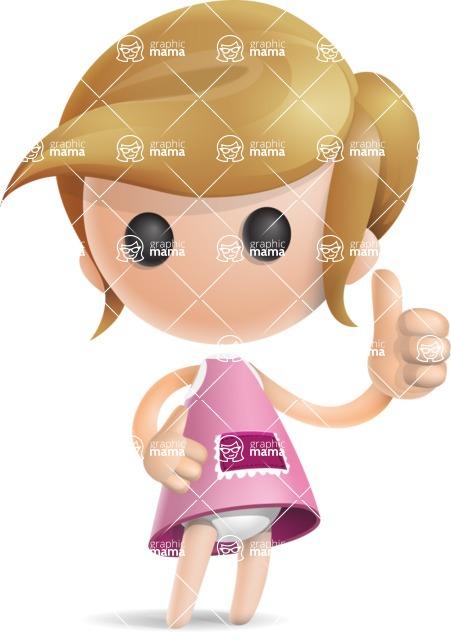 Simple Little Girl Vector 3D Cartoon Character AKA Ellie Babylicious - Thumbs Up