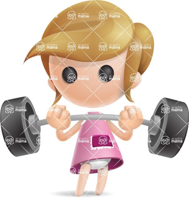 Simple Little Girl Vector 3D Cartoon Character AKA Ellie Babylicious - Strong