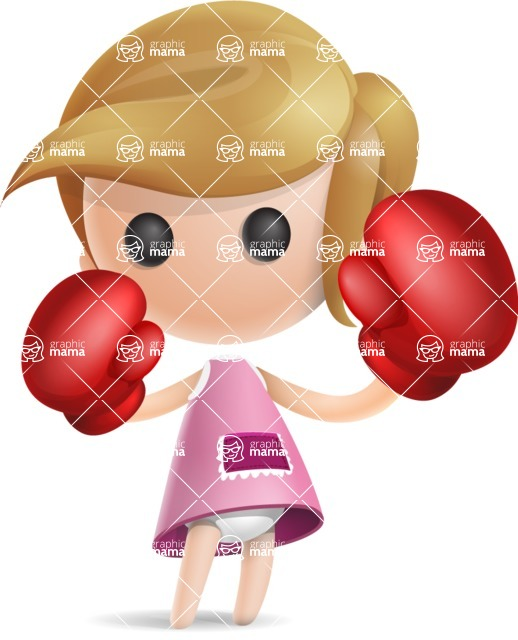 Simple Little Girl Vector 3D Cartoon Character AKA Ellie Babylicious - Boxing