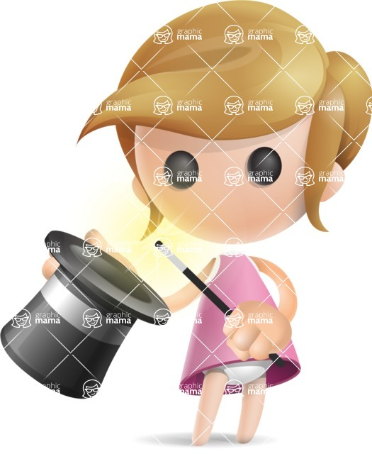 Simple Little Girl Vector 3D Cartoon Character AKA Ellie Babylicious - Abracadabra