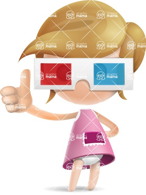 Simple Little Girl Vector 3D Cartoon Character AKA Ellie Babylicious - 3D Glasses