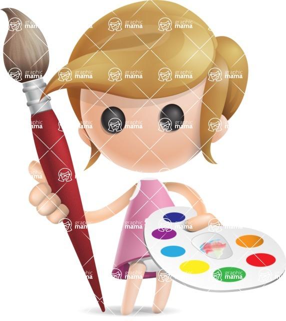 Simple Little Girl Vector 3D Cartoon Character AKA Ellie Babylicious - Artist