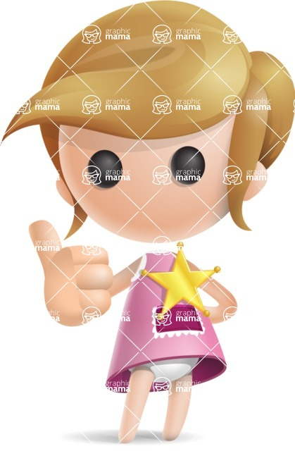 Simple Little Girl Vector 3D Cartoon Character AKA Ellie Babylicious - Sheriff
