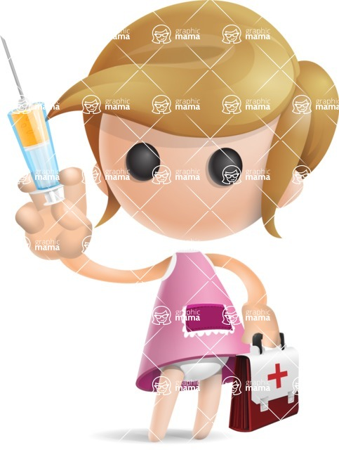 Simple Little Girl Vector 3D Cartoon Character AKA Ellie Babylicious - Doctor